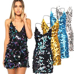 Wholesale Sexy Night Women - women sequin sundress sexy backless dresses with spaghetti strap deep v neck slip dress club party dresses ZL3349