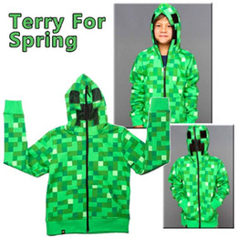 Wholesale Coat Winter Kids Boy - Creeper Hoodie MINECRAFT Jacket Hoodie Creeper Coat Creeper Jacket US Youth Size for Kids & Boys retail
