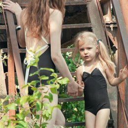 Wholesale L Child Bikini - Mother and Daughter one piece Swimwear black bikini parent child swimming suit beach clothes Family Matching look