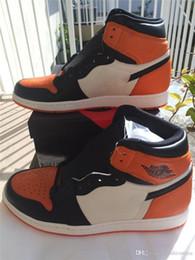 Wholesale Retro High Og - Sport Sneakers Air Retro 1 Shattered Backboard High OG 555088-005 Basketball Shoes Black Orange White Sports With Box