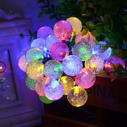 Wholesale Solar Powered Lights Color - 30 LED Bubble Ball Solar String Light Outdoor Waterproof Christmas Celebration Decoration Mixed Color 0.2 Power String Lights