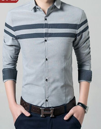 Wholesale Types Collars Dresses - New Arrival Spring Style Fashion Slim Casual Long Sleeve Men Business Casual Cultivate Striped Morality Type Male Shirt Size M,L,XL,XXL,XXXL