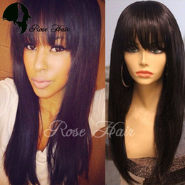 Wholesale Brazilian Vrigin Hair - Peruvian Straight Lace Wigs Human Hair Front Lace Wig With Bangs Brazilian Vrigin Hair Full Lace Wig Human Hair Wigs