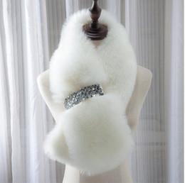 Wholesale Long Dyed Red Hair - BEAUTIFUL Fur Scarf Women Winter Accessories Warm Collar Long Women Scarves Imitation Fur Wraps Multicolors Fox Hair Collar Wrap Scarfs Fema