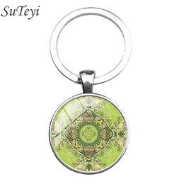 Wholesale geometry pictures - 2017 Sacred geometry Mandala Key chain Buddha Yoga Keychain New Art Picture Glass Dome Pendant Keyring Fashion Jewelry For Gifts