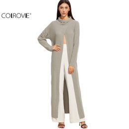 Wholesale Open Sweater For Women - Wholesale- COLROVIE Turtleneck Sweaters for Women Warm Women Sweaters and Pullovers Grey Funnel Neck Open Front High Slit Long Sweater