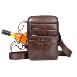 Wholesale Travel Sling Leather - Wholesale- New Men Oil Wax leather First layer Cowhide Travel Cross Body Messenger Shoulder Fahion High Quality Sling Chest Bag