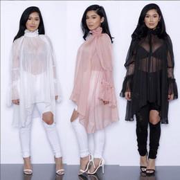 Wholesale Dress Top Coat - fashion new chiffon lace ruffles irregular long sleeve Sunscreen blouses plus size women summer spring sheer shirts dress tops coat