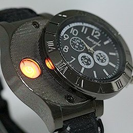 Wholesale Men Watches Eco - Men Digital USB Lighter Watch Novelty Windproof Black Dial Band