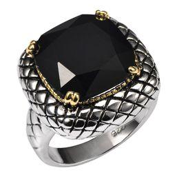 Modeschmuck Ringe riesigen schwarzen Onyx 925 Sterling Silber Ring Fabrik Preis für Frauen und Männer Größe 6 7 8 9 10 von Fabrikanten