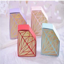 Wholesale Luxury Favor Candy - Luxury Paper Diamonds Creative Wedding Favor Candy Boxes Gift Bags pink purple Birthday Party Festival Candy Box Favor Holders