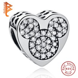18af5c06b BELAWANG 925 Sterling Silver Charms Heart Shape Clear Cubic Zirconia Beads  Fit Pandora Charms Bracelet DIY Women Fashion Jewelry Making