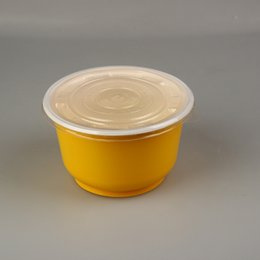 Wholesale Circular Plastic Boxes - 360-1000ml Disposable lunch box,circular yellow or black Plastic Lunch box,Take-out food Hotel Disposable Take Out Containers, free shipping