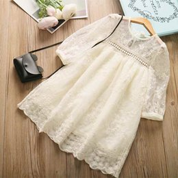 Wholesale Trimmer Line Wholesale - Princess Birthday Party Dress Spring Autumn Long Sleeve Rustic Lace Trim Kids Clothes Fashion Flower Girl Dress