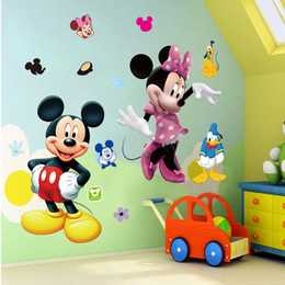 Wholesale Minnie Stickers - PVC Mickey Mouse Minnie Vinyl Mural Wall Sticker Decals Kids Nursery Room Living room bedroom children room decoration stickers