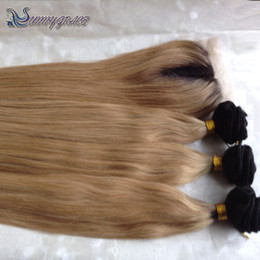 Wholesale Silk Based Top Closures - honey blonde ombre brazilian human hair bundles with silk base closure two tone human hair silk top closure with hair weave