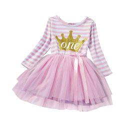 Costume tutus online-Le ragazze calde veste il costume della principessa dei bambini per il primo vestito dalle ragazze del vestito da Tutu di usura del partito di compleanno dell'infante