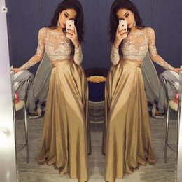 Wholesale Cheap Golden Satin - Beautiful Lace Long Sleeve Gold Two Piece Prom Dresses 2017 Satin Cheap Prom Gowns Sheer Golden Party Dress