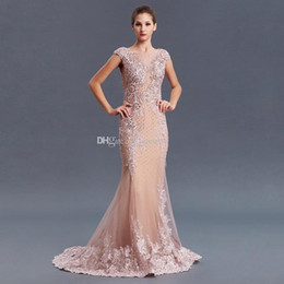vestidos de cristal de oriente medio Rebajas Fotos de modelos Arabia Saudita Oriente Medio rosa vintage sirena vestidos de noche 2019 pesadamente bordados con cuentas vestidos de noche 072