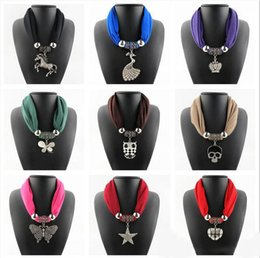Wholesale Scarf Collar Pendant - Women Fashion Collar Necklaces Scarf Zircon Crown Peacock Horse Butterfly Star Mix Pendants Jewelry Scarf LD