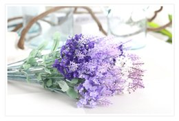 Wholesale Lavender Wedding Decorations For Home - Artificial silk flowes manmade Lavender for home and wedding decoration vivid and delicate in 3 colors