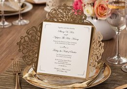 Wholesale Folded Paper Cards - 2017 Wedding Invitations Gold Paper Blank Inner Sheet Laser Cutting Wedding Invitation Flowers Hollow Wedding Cards