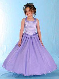 Wholesale Hot Girl Neck Hanging - 2017 Children Very Hot Purple Beauty Dress Tulle Flower Girl Dress Hanging Neck Pageant Dress Yarn Folding Zou Girl