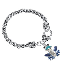 Wholesale Cheap Toys For Christmas - Hot Sale Cheap Colorful Rhinestone Frog Toys Charm Bracelet For Fashion Gift