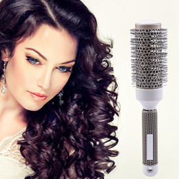 Wholesale Hair Dryers Ionic - 19 25 32 45 53mm Hair Brush Nano Thermal Ceramic Ionic Round Barrel Comb Drying Curling Hairdressing Curly Round Brush