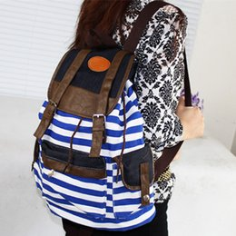 Wholesale Canvas Backpacks For Cheap - Wholesale- Cheap Products 2016 Women Girl Striped Canvas Backpack Leisure School Backpacks For Teenagers Travel Rucksack