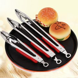 Wholesale Buffet Wholesale - Stainless Steel Food clip Red handle with lock Kitchen Buffet Cooking Tool Anti Heat BBQ Clip Kitchen Clamp Barbecue Tongs kitchen tools
