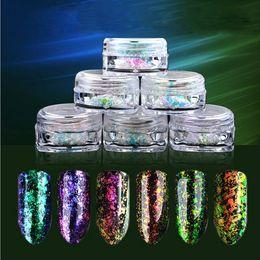 Wholesale Powder Art Pigment - 0.2g 6Color set Nail Art Chameleon Mirror Glitter Powder Chrome Pigment Glitters NailArt Decorations