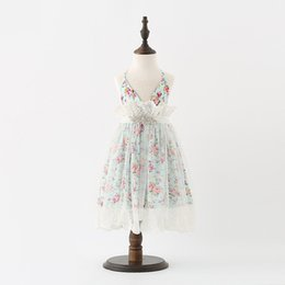 Wholesale Lace Halter Style Dress - Girls Lace Flower Dresses 2017 Baby Girl Printed Floral Party Dress Kids Girl Fashion Halter Dress Baby Summer clothing