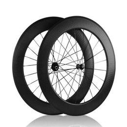 Wholesale Road Bike Wheel Sets - AWST Hot sale dimpled carbon wheelset 88mm road bicycle clincher wheels full carbon bike wheelsets china cheap carbon wheels basalt surface