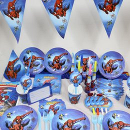 Wholesale Spiderman Birthday - Wholesale-Paper Plates Spiderman Kids Favors Birthday Party Tablecover Cups Napkins Baby Shower Bags Straws Decoration Supplies 132pcs\lot