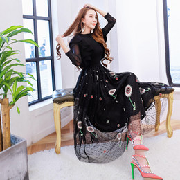 Wholesale Two Piece Knit Dresses Spring - Europe female spring lotus leaf edge Knitted Top Heavy embroidery gauze skirt Vest + two piece
