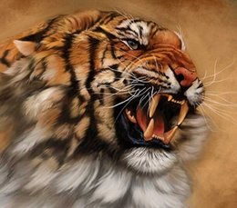Wholesale Traditional Tiger - New DIY 5D Mosaic Diamond Painting Cross Stitch kits animal tiger full Resin square Diamonds Embroidery needlework Home Decor zf0249