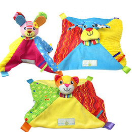 Wholesale Newborn Crib Toys - Wholesale- 29cm*29cm Cat Dog baby Reassure Towel newborn development appease towel Calm educational plush toy Infant Baby Crib Stroller Toy