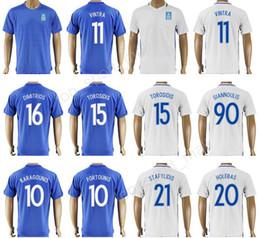Wholesale National Customs - 17 18 Soccer Greece Jersey National Team Thailand 11 Kostas Mitroglou 15 Vasilis Torosidis Football Shirt Custom 10 FORTOUNIS 10 KARAGOUNIS