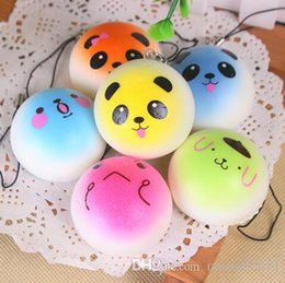 Wholesale Cell Phone Pvc Strap - 3D Kawaii Squishy Rare Jumbo Squishies Panda for Keys Phone Strap Mobile Phone Charm Pendant Keychains Cell Phone Accessories Colorful
