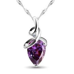 Wholesale Diamond Stone Pendant - Silver amethyst Water Drop Pendant Crystal Pong processing jewelry 925 sterling silver jewelry amethyst stone necklace