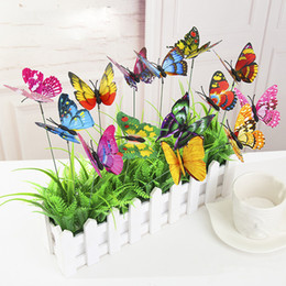 Wholesale Plastic Garden Ornaments - New Colorful Double Wings Butterfly Stakes Garden Ornaments & Party Supplies Decorations for Outdoor Garden Fake Insects