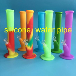 Wholesale Water Silicone - Free shipping 14inches silicone water pipes seven colors for choice silicone water pipe water pipes glass bongs glass pipes