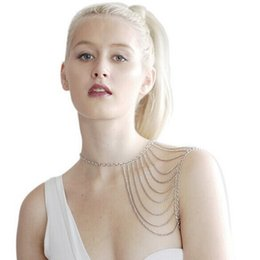 Wholesale Plastic Gold Rope Necklace - Hot style popular in Europe and the foreign trade tassel metal body shawls necklace new fashion accessories wholesale