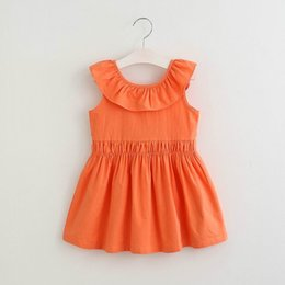 Wholesale Cotton Dress Elastic Waist - Retail 2017 Summer New Girls Dresses Ruffles Collar Elastic Waist V Backless Cotton Dress Children Clothing 2-7Y E16359