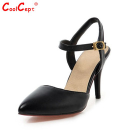 Wholesale Large Sized Ladies Shoes - Wholesale-women's ankle strap pointed toe high heel sandals sexy fashion ladies heeled shoes large size 31-43 P23535