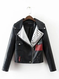 Wholesale Rivet Motorcycle Clothing - Fashion Women Leather Coats Riveting Motorcycle PU Leather Jackets Short Section Outwear Overcoat Casual Clothes Ladies Clothing S M L Black