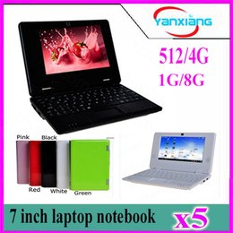 Wholesale Android Netbook 7inch - 5pcs Wholesale original 7inch Mini Netbook WIFI android 4.2 Laptop 512mb 4GB flash VIA8880 1.5Ghz notebook yx-cp-1