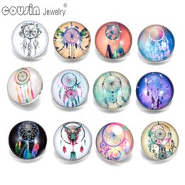 Wholesale Dreamcatcher Jewelry - 2017 New Arrivals 12pcs lot DreamCatcher Amazing Pattern 01 Glass Buttons Fit 18mm snap button Jewelry Faceted glass Snap For Snaps Jewelry