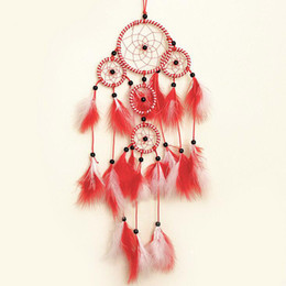 2Pcs Lot DIY Indian Red Feather Arts And Crafts Handmade Dream Catcher Net  With Feathers Wall Hanging Decoration Car Home Ornament Gift Dropshipping Uk Part 76